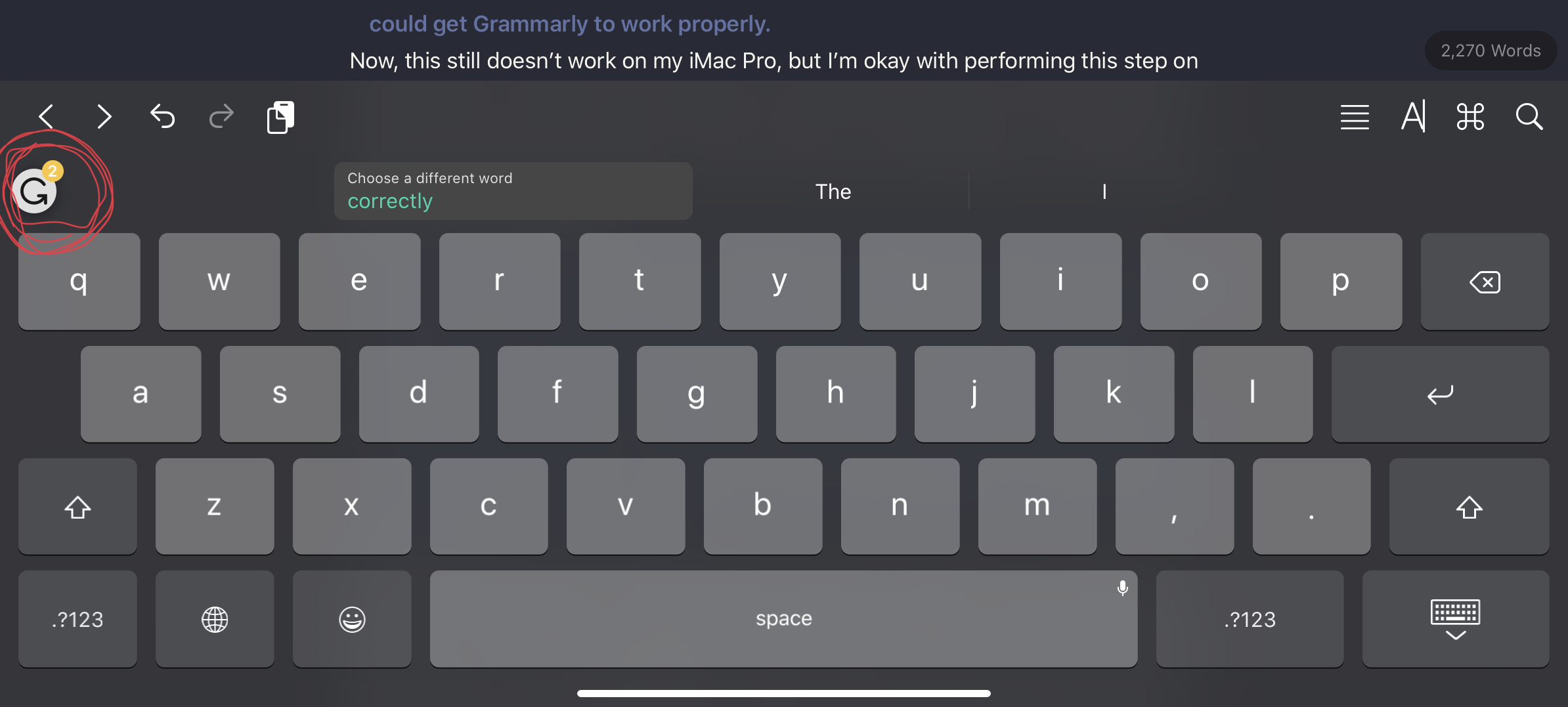 "Tap the ""G"" on the Grammarly keyboard to review the entire document/article"